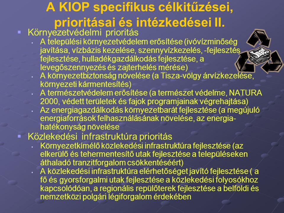 A KIOP specifikus célkitűzései, prioritásai és intézkedései II.   Környezetvédelmi prioritás   A települési környezetvédelem erősítése (ivóvízminő