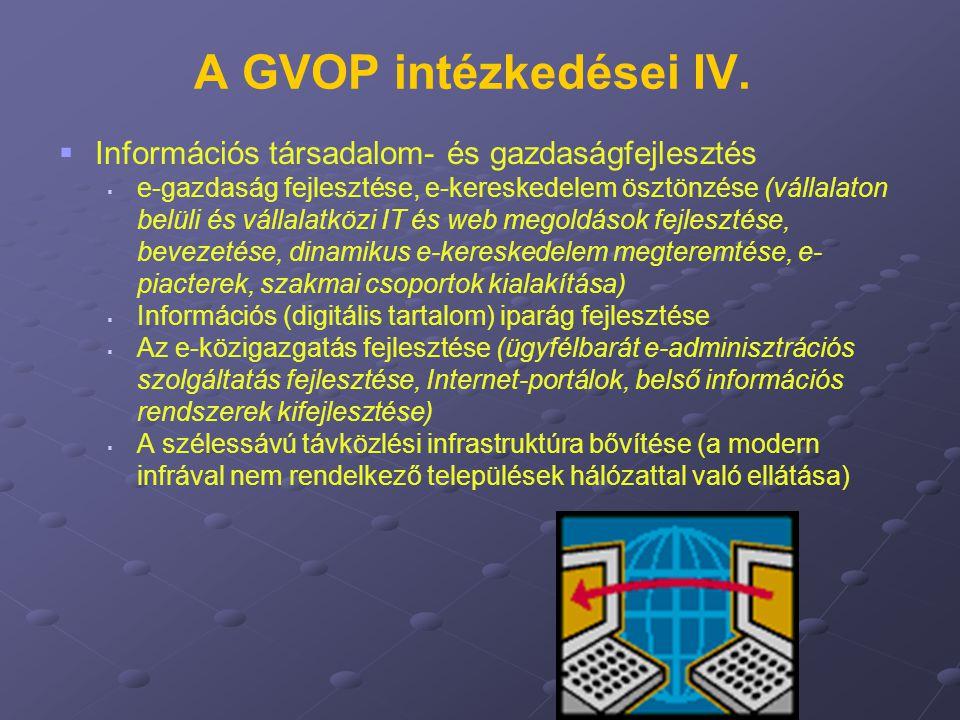 A GVOP intézkedései IV.   Információs társadalom- és gazdaságfejlesztés   e-gazdaság fejlesztése, e-kereskedelem ösztönzése (vállalaton belüli és