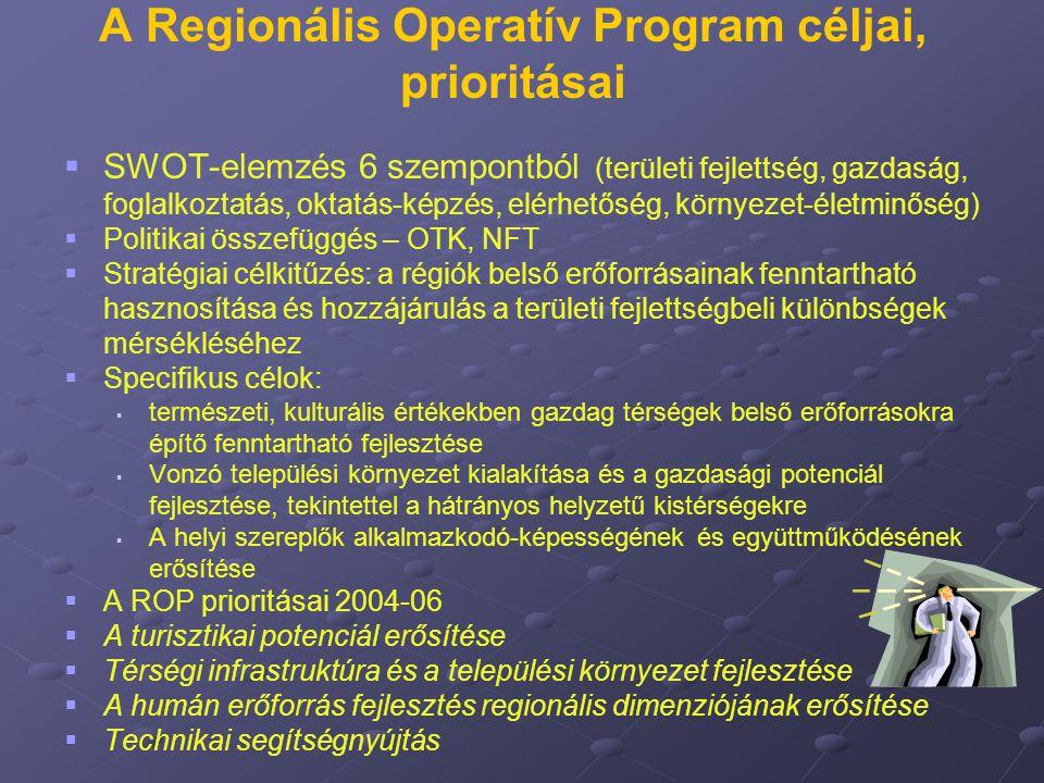 A Regionális Operatív Program céljai, prioritásai   SWOT-elemzés 6 szempontból (területi fejlettség, gazdaság, foglalkoztatás, oktatás-képzés, elérh