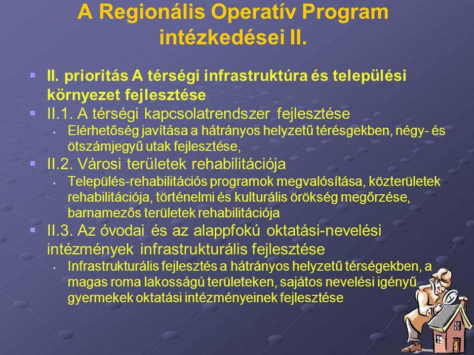 A Regionális Operatív Program intézkedései II.   II. prioritás A térségi infrastruktúra és települési környezet fejlesztése   II.1. A térségi kapc