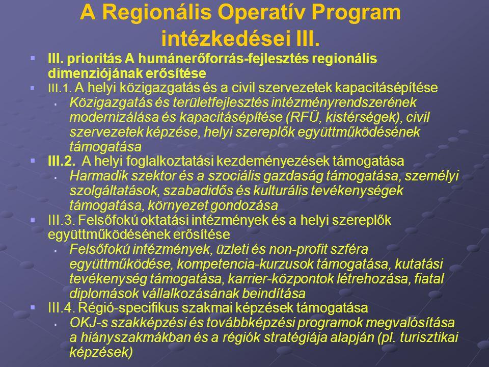 A Regionális Operatív Program intézkedései III.   III. prioritás A humánerőforrás-fejlesztés regionális dimenziójának erősítése   III.1. A helyi k