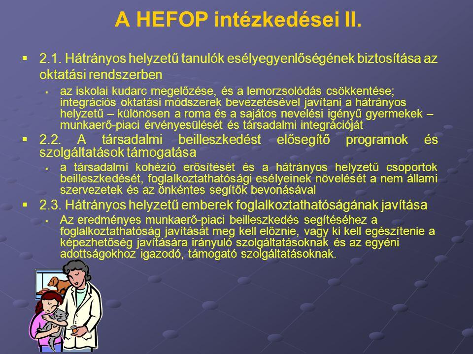A HEFOP intézkedései II.   2.1. Hátrányos helyzetű tanulók esélyegyenlőségének biztosítása az oktatási rendszerben   az iskolai kudarc megelőzése,