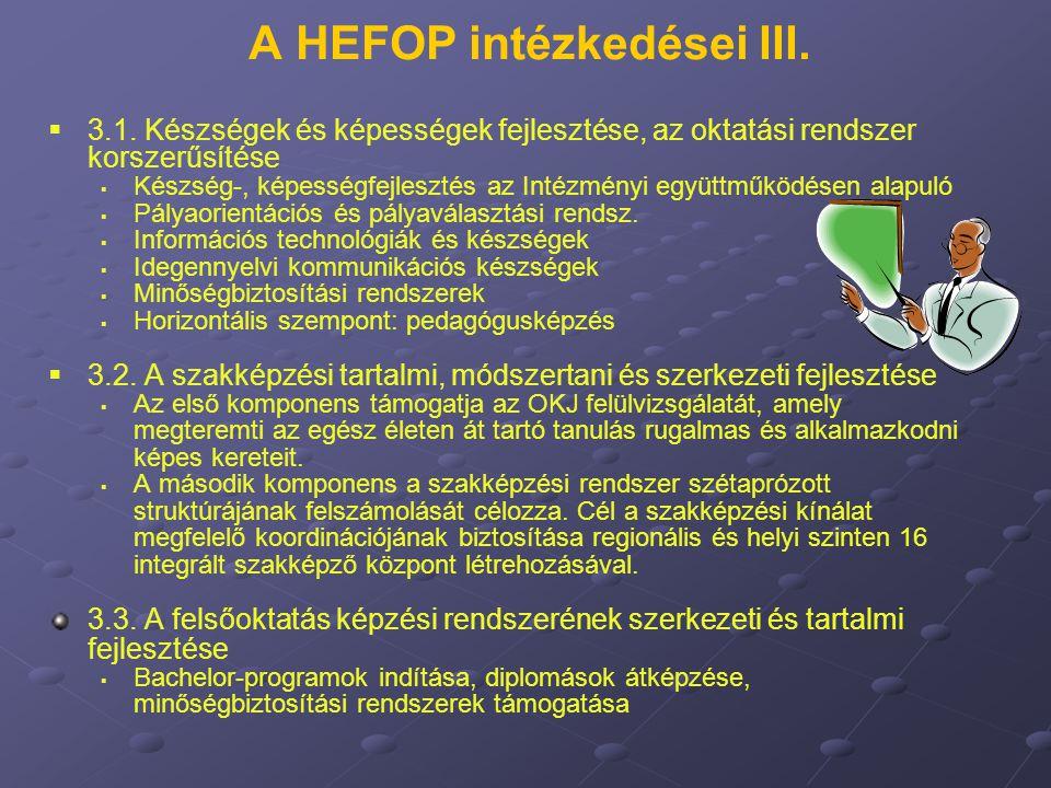 A HEFOP intézkedései III.   3.1. Készségek és képességek fejlesztése, az oktatási rendszer korszerűsítése   Készség-, képességfejlesztés az Intézm