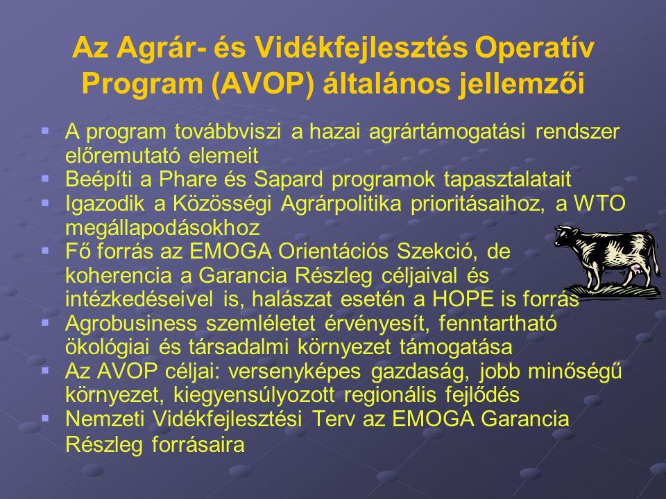 Az Agrár- és Vidékfejlesztés Operatív Program (AVOP) általános jellemzői   A program továbbviszi a hazai agrártámogatási rendszer előremutató elemei