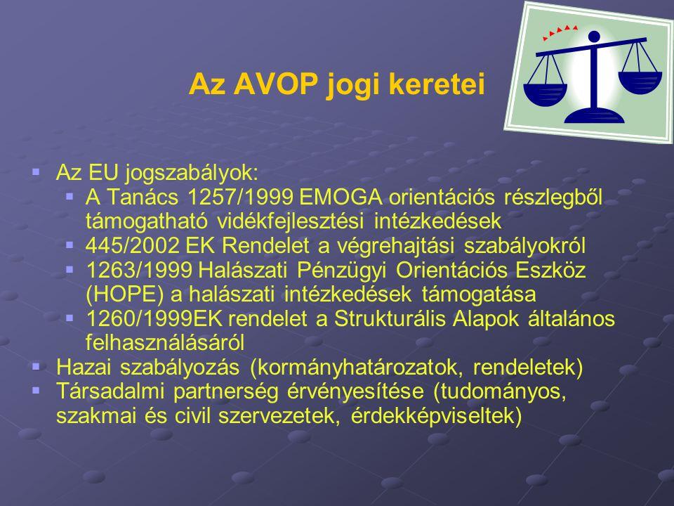 Az AVOP jogi keretei   Az EU jogszabályok:   A Tanács 1257/1999 EMOGA orientációs részlegből támogatható vidékfejlesztési intézkedések   445/200