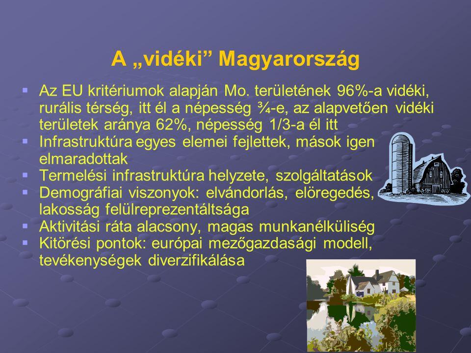 """A """"vidéki"""" Magyarország   Az EU kritériumok alapján Mo. területének 96%-a vidéki, rurális térség, itt él a népesség ¾-e, az alapvetően vidéki terüle"""