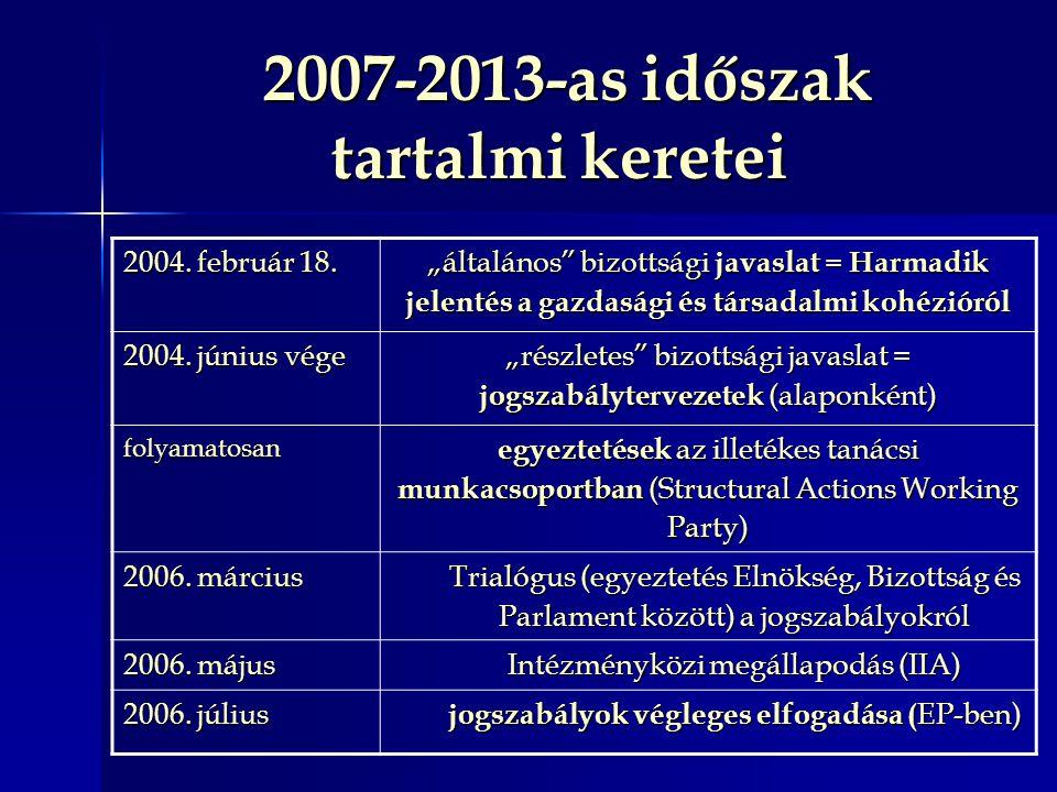 """2007-2013-as időszak tartalmi keretei 2007-2013-as időszak tartalmi keretei 2004. február 18. """"általános"""" bizottsági javaslat = Harmadik jelentés a ga"""