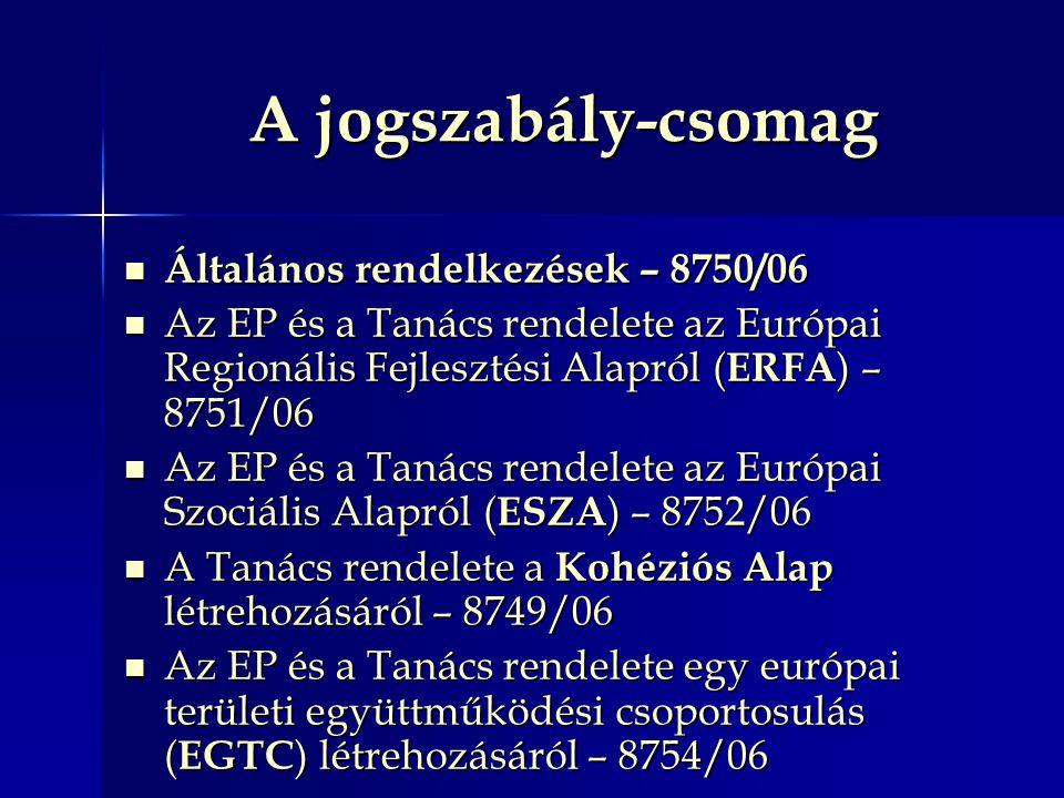 A jogszabály-csomag Általános rendelkezések – 8750/06 Általános rendelkezések – 8750/06 Az EP és a Tanács rendelete az Európai Regionális Fejlesztési