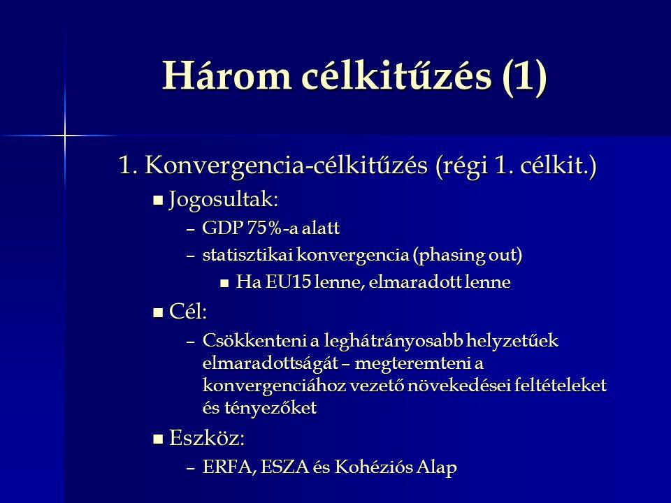 Három célkitűzés (1) 1.Konvergencia-célkitűzés (régi 1.