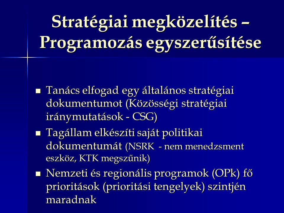 Stratégiai megközelítés – Programozás egyszerűsítése Tanács elfogad egy általános stratégiai dokumentumot (Közösségi stratégiai iránymutatások - CSG) Tanács elfogad egy általános stratégiai dokumentumot (Közösségi stratégiai iránymutatások - CSG) Tagállam elkészíti saját politikai dokumentumát (NSRK - nem menedzsment eszköz, KTK megszűnik) Tagállam elkészíti saját politikai dokumentumát (NSRK - nem menedzsment eszköz, KTK megszűnik) Nemzeti és regionális programok (OPk) fő prioritások (prioritási tengelyek) szintjén maradnak Nemzeti és regionális programok (OPk) fő prioritások (prioritási tengelyek) szintjén maradnak