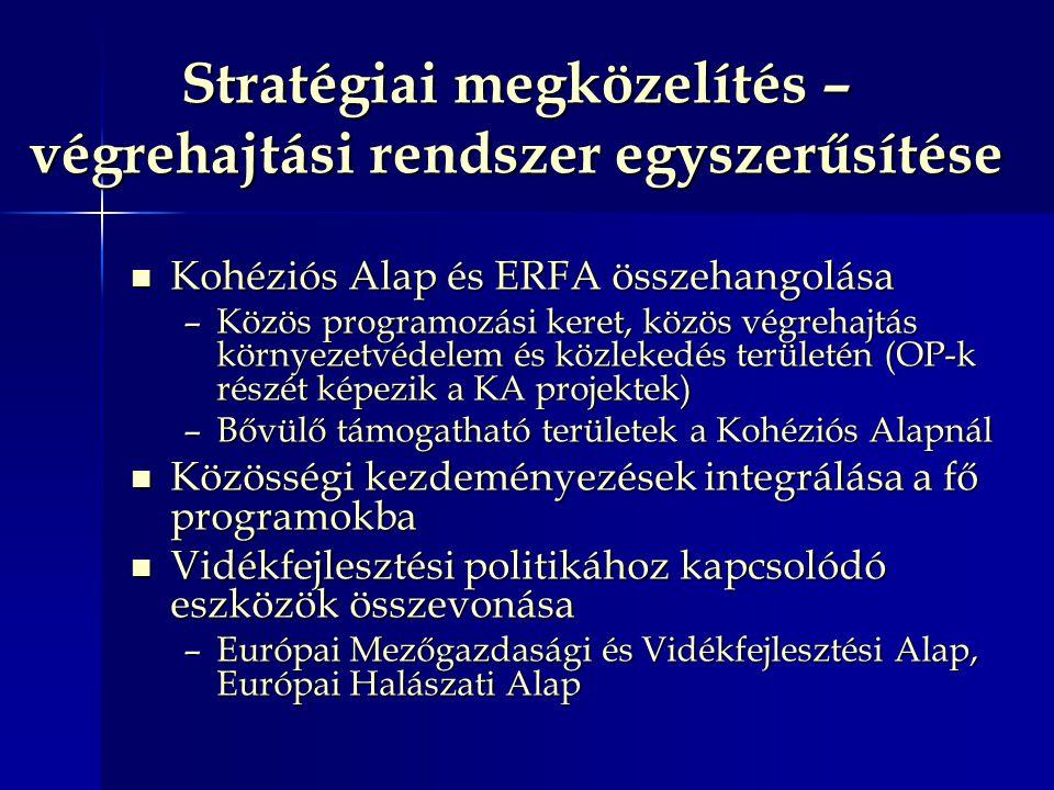 Stratégiai megközelítés – végrehajtási rendszer egyszerűsítése Kohéziós Alap és ERFA összehangolása Kohéziós Alap és ERFA összehangolása –Közös programozási keret, közös végrehajtás környezetvédelem és közlekedés területén (OP-k részét képezik a KA projektek) –Bővülő támogatható területek a Kohéziós Alapnál Közösségi kezdeményezések integrálása a fő programokba Közösségi kezdeményezések integrálása a fő programokba Vidékfejlesztési politikához kapcsolódó eszközök összevonása Vidékfejlesztési politikához kapcsolódó eszközök összevonása –Európai Mezőgazdasági és Vidékfejlesztési Alap, Európai Halászati Alap