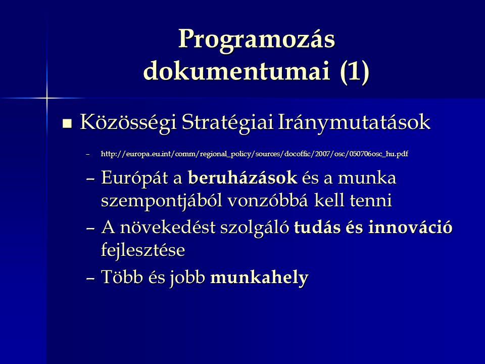 Programozás dokumentumai (1) Közösségi Stratégiai Iránymutatások Közösségi Stratégiai Iránymutatások –http://europa.eu.int/comm/regional_policy/sources/docoffic/2007/osc/050706osc_hu.pdf –Európát a beruházások és a munka szempontjából vonzóbbá kell tenni –A növekedést szolgáló tudás és innováció fejlesztése –Több és jobb munkahely