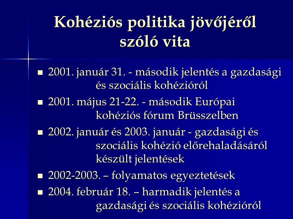 Kohéziós politika jövőjéről szóló vita 2001. január 31. - második jelentés a gazdasági és szociális kohézióról 2001. január 31. - második jelentés a g