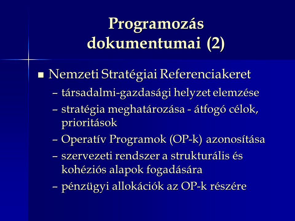 Programozás dokumentumai (2) Nemzeti Stratégiai Referenciakeret Nemzeti Stratégiai Referenciakeret –társadalmi-gazdasági helyzet elemzése –stratégia meghatározása - átfogó célok, prioritások –Operatív Programok (OP-k) azonosítása –szervezeti rendszer a strukturális és kohéziós alapok fogadására –pénzügyi allokációk az OP-k részére