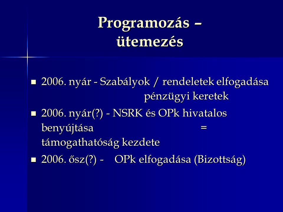 Programozás – ütemezés 2006. nyár - Szabályok / rendeletek elfogadása pénzügyi keretek 2006. nyár - Szabályok / rendeletek elfogadása pénzügyi keretek