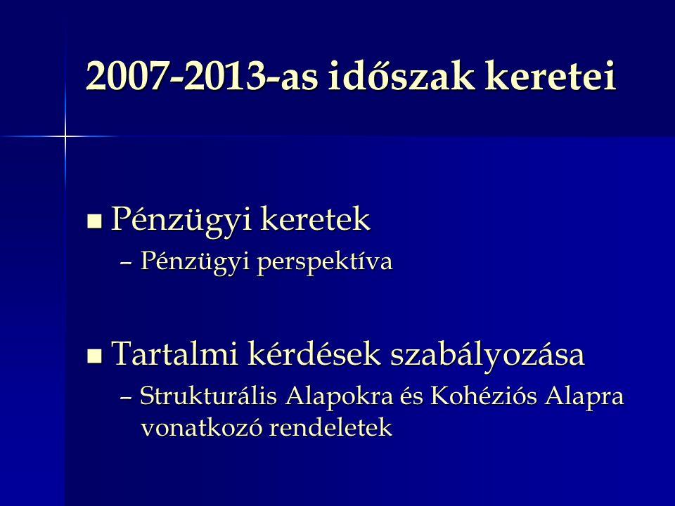 2007-2013-as időszak keretei Pénzügyi keretek Pénzügyi keretek –Pénzügyi perspektíva Tartalmi kérdések szabályozása Tartalmi kérdések szabályozása –Strukturális Alapokra és Kohéziós Alapra vonatkozó rendeletek