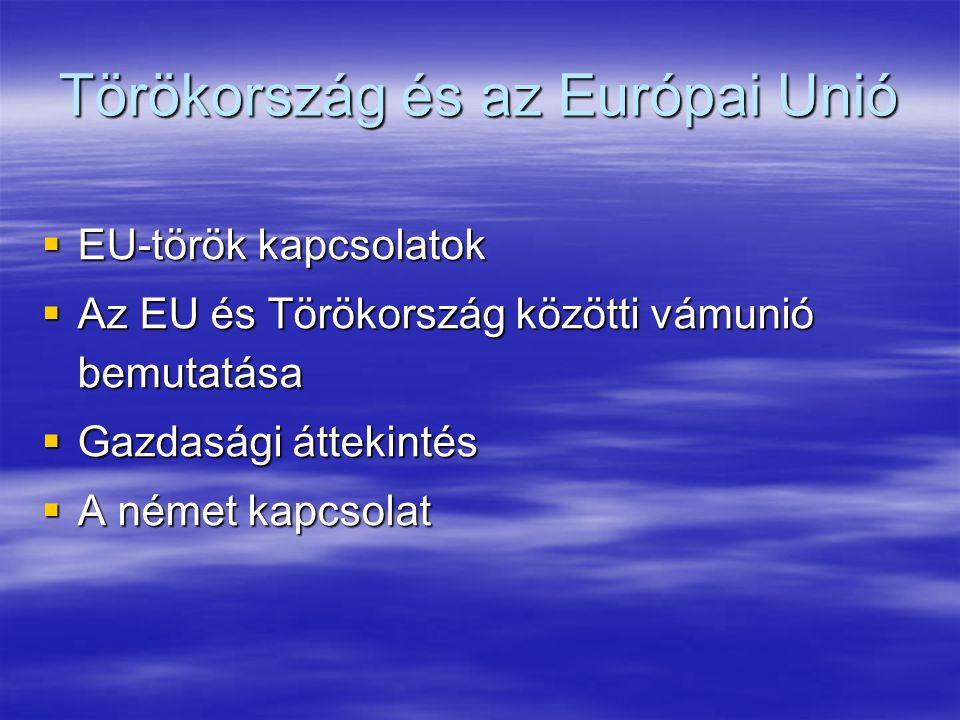 A német kapcsolat  Befolyásoló tényezők: török tagjelölt státusz, török vendégmunkások Németországban, gazdasági együttműködés  Élénk kétoldalú kereskedelmi kapcsolatok, német-török vegyes vállalatok