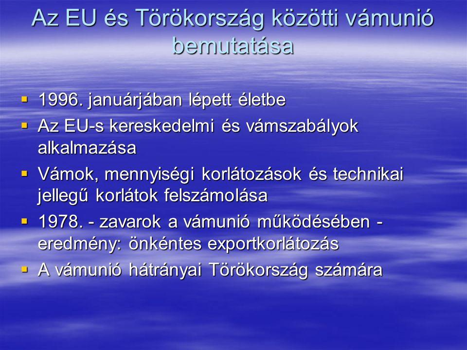 EU-török kapcsolatok  1963. szeptember - Ankara Megállapodás  Végső cél: vámunió és gazdaságpolitikai koordináció  1973. - Kiegészítő Jegyzőkönyv a