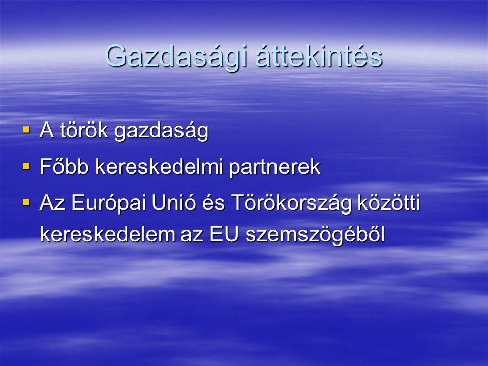 Az EU és Törökország közötti vámunió bemutatása  1996. januárjában lépett életbe  Az EU-s kereskedelmi és vámszabályok alkalmazása  Vámok, mennyisé