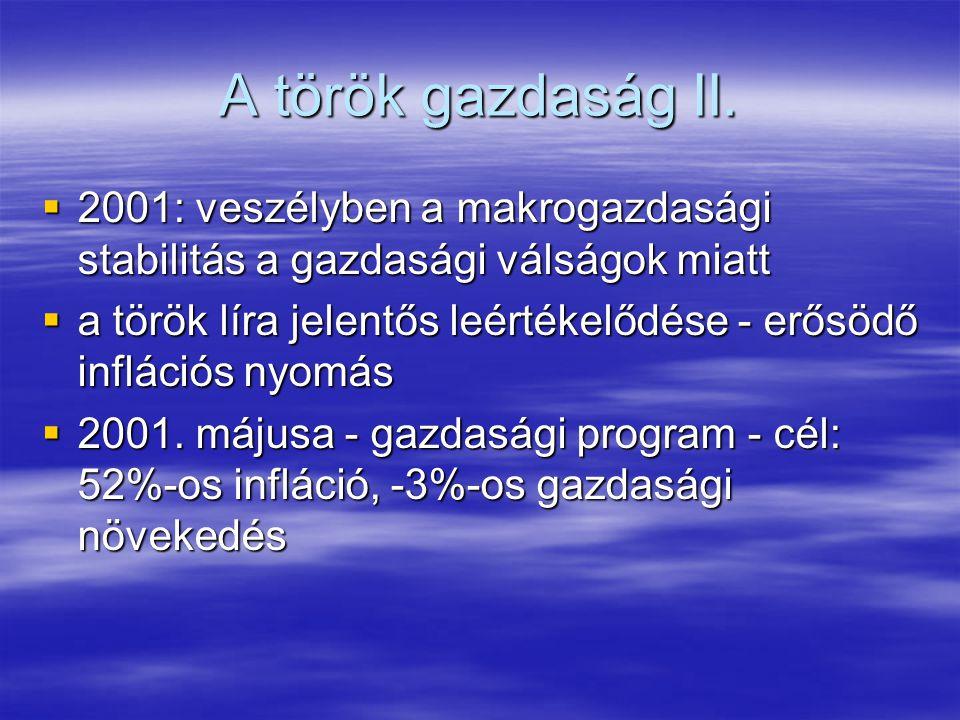 A török gazdaság I.  1980-as évek szerkezet-átalakító program: piacgazdaság feltételeinek megteremtése  1995. Hatodik Ötéves Fejlesztési Terv  1997
