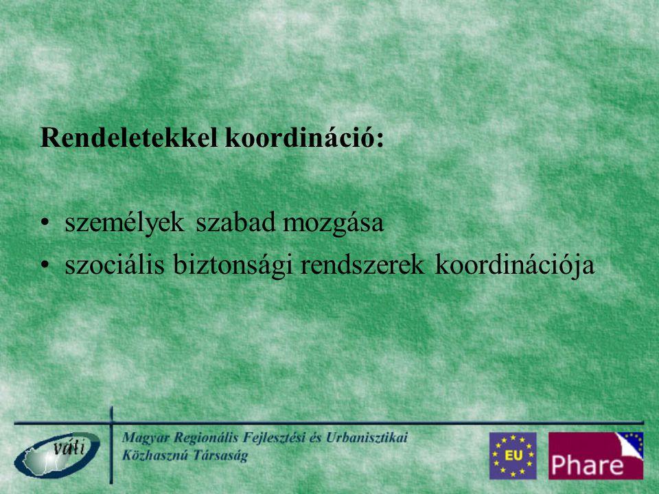 Rendeletekkel koordináció: személyek szabad mozgása szociális biztonsági rendszerek koordinációja