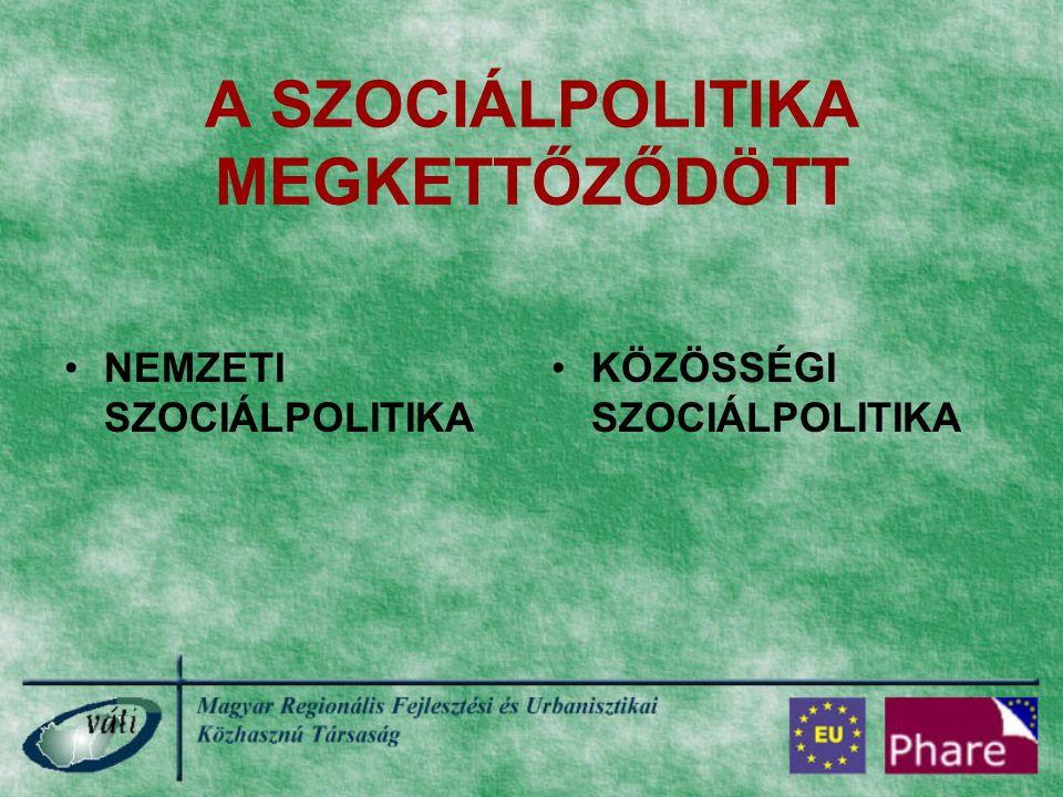 NEMZETI SZOCIÁLPOLITIKA Elsősorban: a SZOCIÁLIS ELLÁTÁSOKAT: pl.