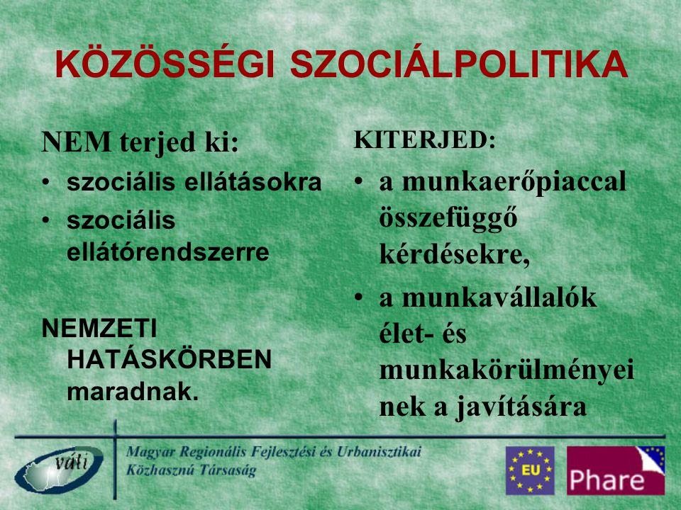 KETTŐS JOGALKOTÁSI HATÁSKÖR KIZÁRÓLAGOS NEMZETI HATÁSKÖR: nyugdíjak, szociális ellátások MEGOSZTOTT HATÁSKÖR: foglalkoztatáspolitika EU HATÁSKÖR: Ezek a közösségi szociálpolitika területei