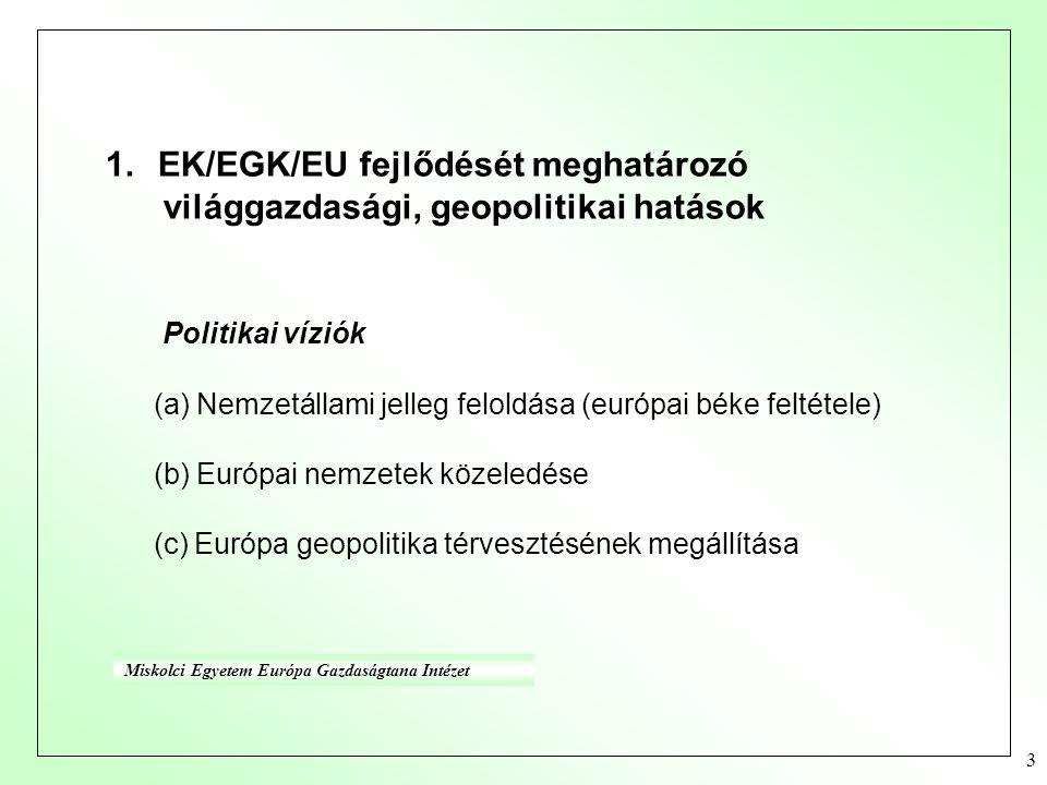 3 1.EK/EGK/EU fejlődését meghatározó világgazdasági, geopolitikai hatások Politikai víziók (a) Nemzetállami jelleg feloldása (európai béke feltétele) (b) Európai nemzetek közeledése (c) Európa geopolitika térvesztésének megállítása Miskolci Egyetem Európa Gazdaságtana Intézet