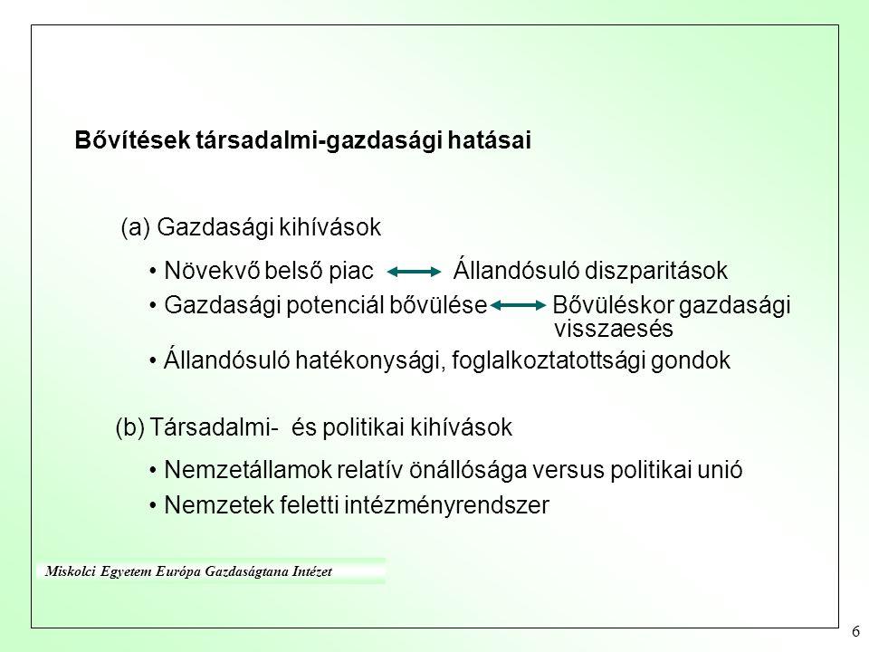 6 Bővítések társadalmi-gazdasági hatásai (a) Gazdasági kihívások Növekvő belső piac Állandósuló diszparitások Gazdasági potenciál bővülése Bővüléskor gazdasági visszaesés Állandósuló hatékonysági, foglalkoztatottsági gondok (b) Társadalmi- és politikai kihívások Nemzetállamok relatív önállósága versus politikai unió Nemzetek feletti intézményrendszer Miskolci Egyetem Európa Gazdaságtana Intézet