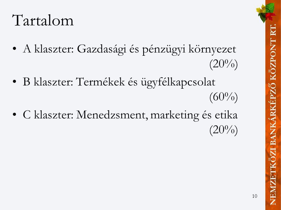 10 Tartalom A klaszter: Gazdasági és pénzügyi környezet (20%) B klaszter: Termékek és ügyfélkapcsolat (60%) C klaszter: Menedzsment, marketing és etika (20%)