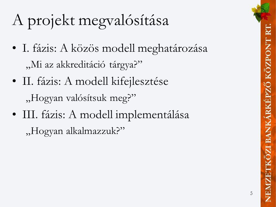 """5 A projekt megvalósítása I. fázis: A közös modell meghatározása """"Mi az akkreditáció tárgya II."""