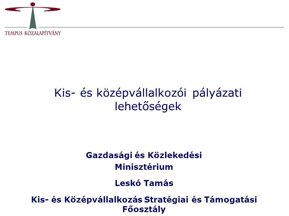 Kis- és középvállalkozói pályázati lehetőségek Gazdasági és Közlekedési Minisztérium Leskó Tamás Kis- és Középvállalkozás Stratégiai és Támogatási Főo