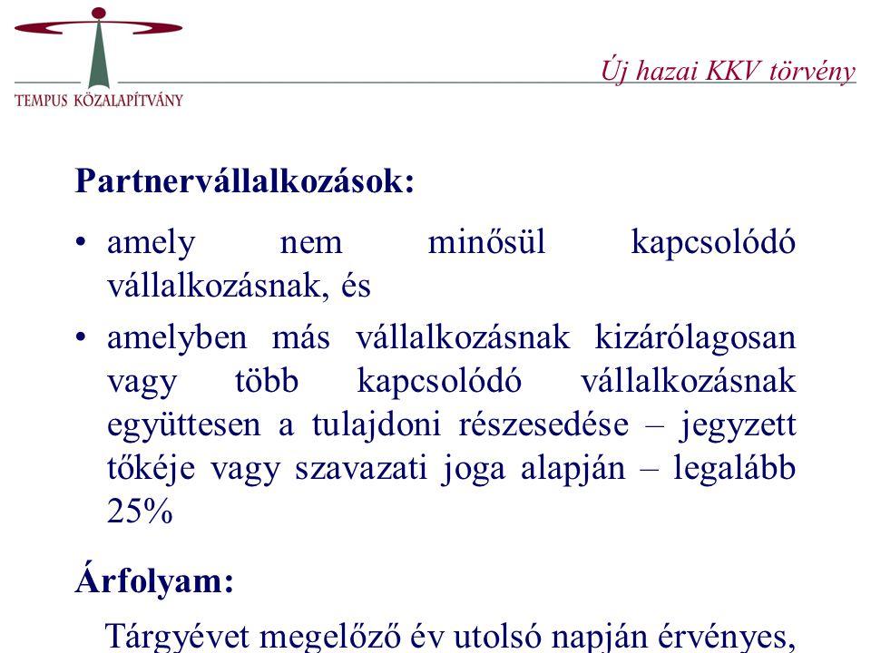 Új hazai KKV törvény Partnervállalkozások: amely nem minősül kapcsolódó vállalkozásnak, és amelyben más vállalkozásnak kizárólagosan vagy több kapcsol
