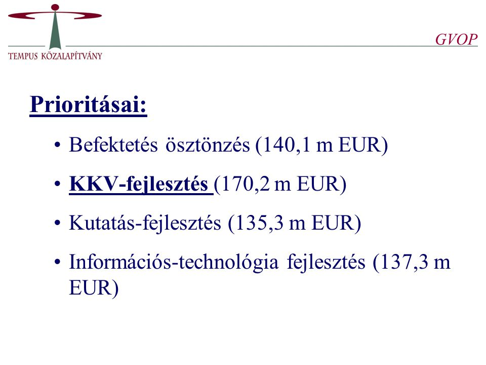 GVOP Prioritásai: Befektetés ösztönzés (140,1 m EUR) KKV-fejlesztés (170,2 m EUR) Kutatás-fejlesztés (135,3 m EUR) Információs-technológia fejlesztés