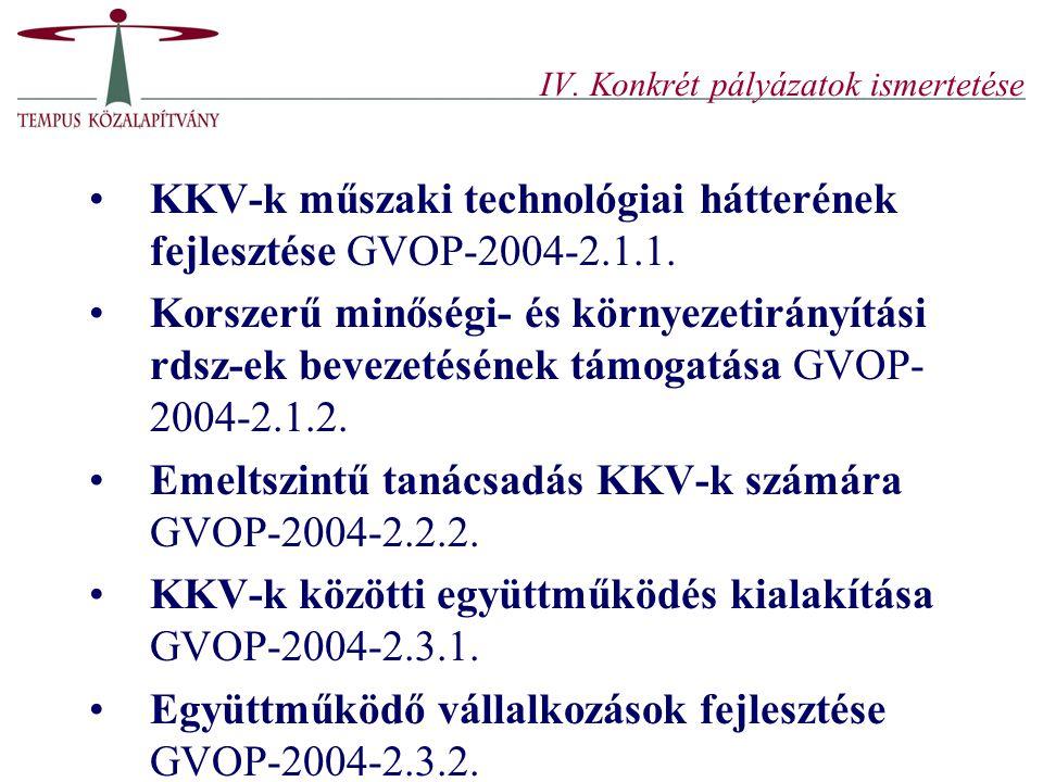 IV. Konkrét pályázatok ismertetése KKV-k műszaki technológiai hátterének fejlesztése GVOP-2004-2.1.1. Korszerű minőségi- és környezetirányítási rdsz-e