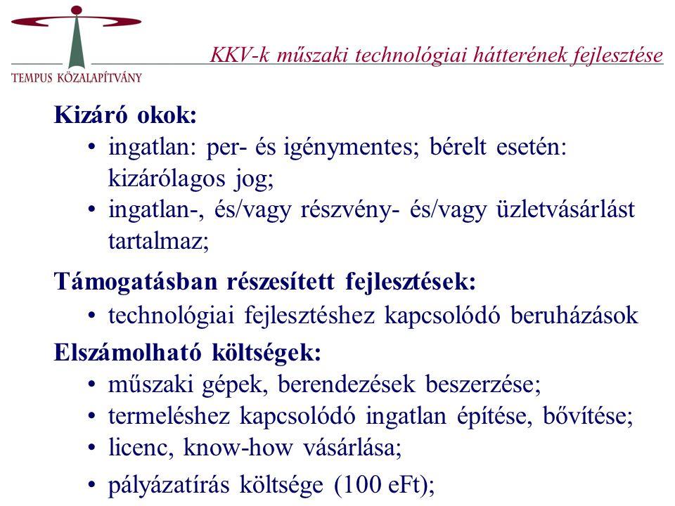 KKV-k műszaki technológiai hátterének fejlesztése Kizáró okok: ingatlan: per- és igénymentes; bérelt esetén: kizárólagos jog; ingatlan-, és/vagy részv