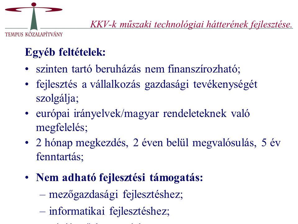 KKV-k műszaki technológiai hátterének fejlesztése. Egyéb feltételek: szinten tartó beruházás nem finanszírozható; fejlesztés a vállalkozás gazdasági t