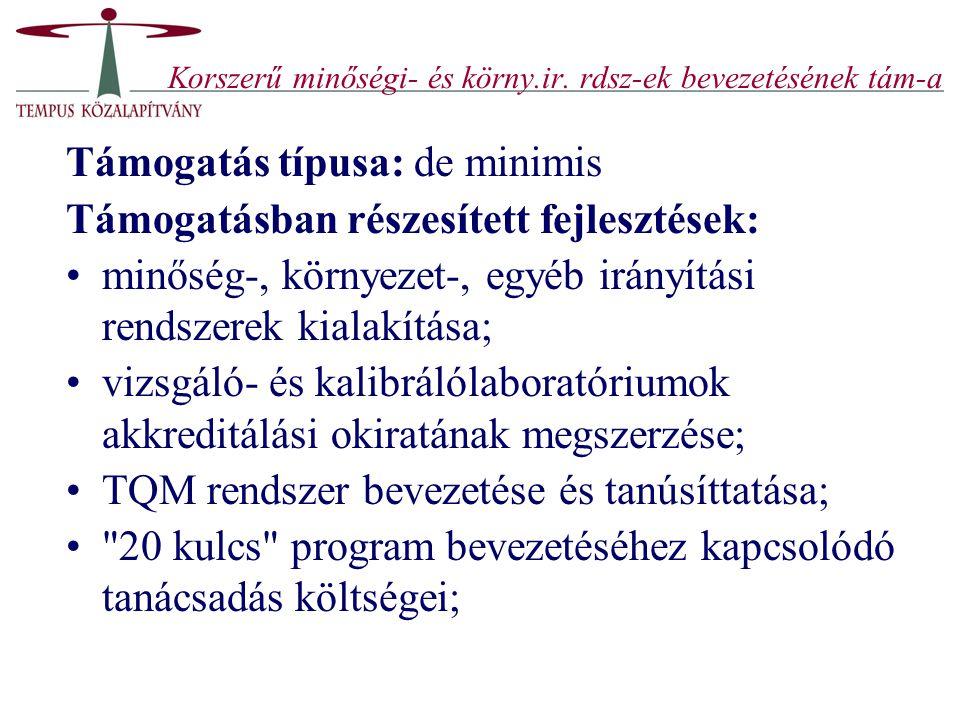 Korszerű minőségi- és körny.ir. rdsz-ek bevezetésének tám-a Támogatás típusa: de minimis Támogatásban részesített fejlesztések: minőség-, környezet-,