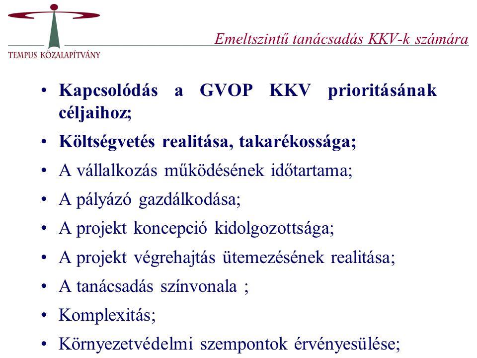 Emeltszintű tanácsadás KKV-k számára Kapcsolódás a GVOP KKV prioritásának céljaihoz; Költségvetés realitása, takarékossága; A vállalkozás működésének