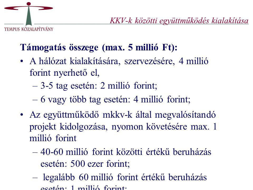 KKV-k közötti együttműködés kialakítása Támogatás összege (max. 5 millió Ft): A hálózat kialakítására, szervezésére, 4 millió forint nyerhető el, –3-5