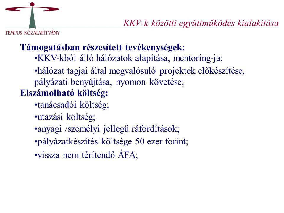 KKV-k közötti együttműködés kialakítása Támogatásban részesített tevékenységek: KKV-kból álló hálózatok alapítása, mentoring-ja; hálózat tagjai által