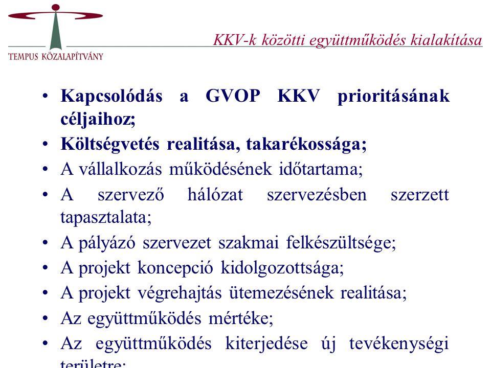 KKV-k közötti együttműködés kialakítása Kapcsolódás a GVOP KKV prioritásának céljaihoz; Költségvetés realitása, takarékossága; A vállalkozás működésén