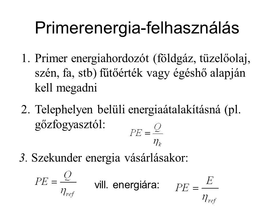 Primerenergia-felhasználás 1.Primer energiahordozót (földgáz, tüzelőolaj, szén, fa, stb) fűtőérték vagy égéshő alapján kell megadni 2.Telephelyen belüli energiaátalakításná (pl.