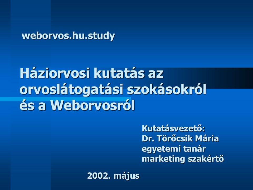 Háziorvosi kutatás az orvoslátogatási szokásokról és a Weborvosról Kutatásvezető: Dr. Törőcsik Mária egyetemi tanár marketing szakértő weborvos.hu.stu