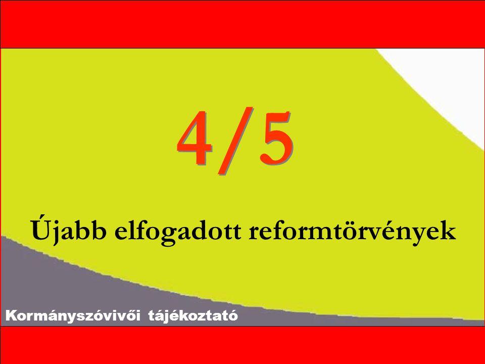 Kormányszóvivői tájékoztató Az egészségügyi reform első szakasza Gyógyszergazdaságossági törvény Kamarai törvény Egészségbiztosításról szóló törvény (Önrészfizetés az egészségügyben, biztosítási csomagok, várólisták szabályozása, művi meddővé tétel szabályozása) A felügyeletről szóló törvény (Az Egészségbiztosítási Felügyelet létrehozása)  Kórházfejlesztési törvény (Az ellátási hierarchia létrehozása, a kapacitások meghatározása) Módosító indítványok