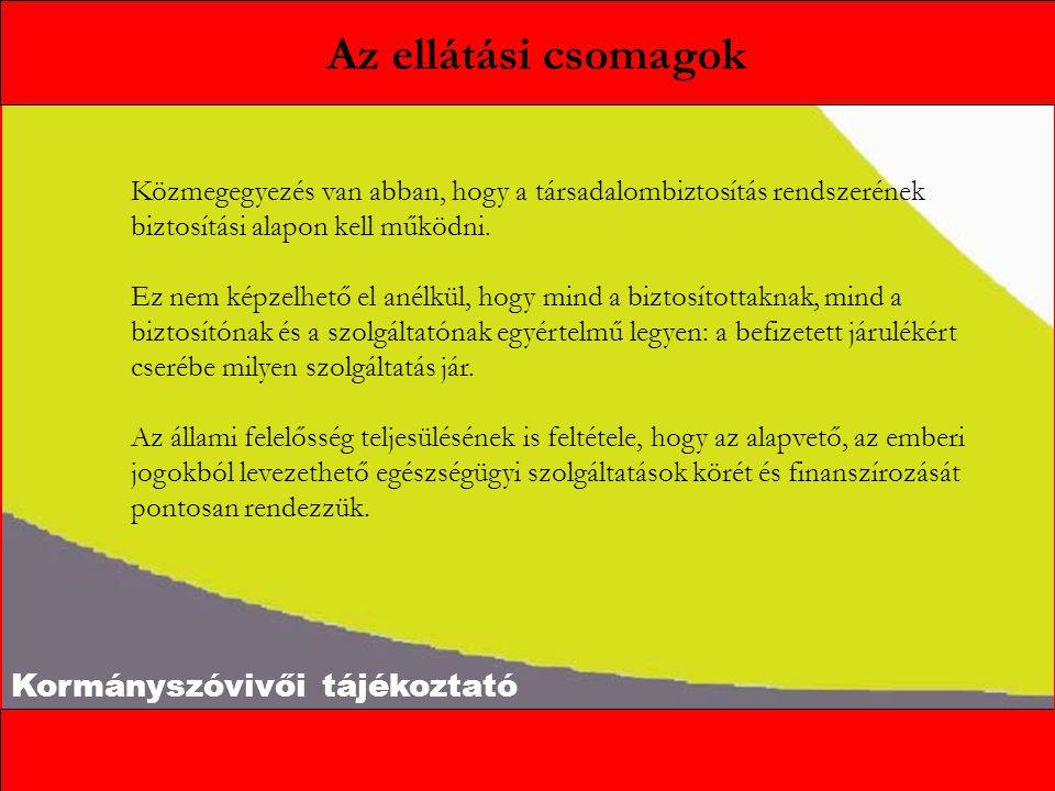 Kormányszóvivői tájékoztató A három csomag A Kormány a szolidaritás és az öngondoskodás elveinek egyidejű érvényesítésére három csomagot javasol meghatározni: Alapcsomag: minden, jogszerűen Magyarországon tartózkodó személynek jár biztosítási jogviszonytól függetlenül.