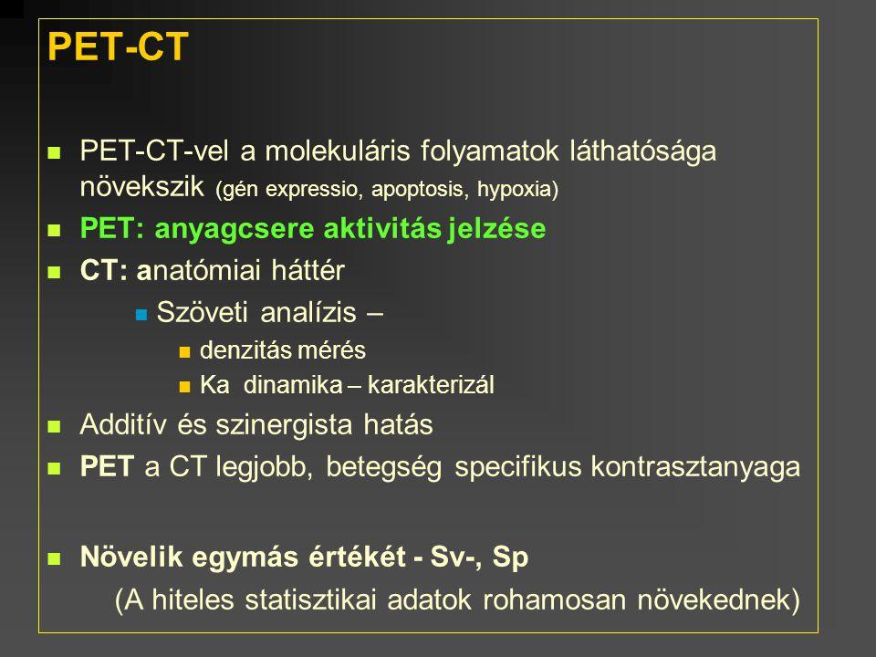 PET-CT PET-CT-vel a molekuláris folyamatok láthatósága növekszik (gén expressio, apoptosis, hypoxia) PET: anyagcsere aktivitás jelzése CT: anatómiai h