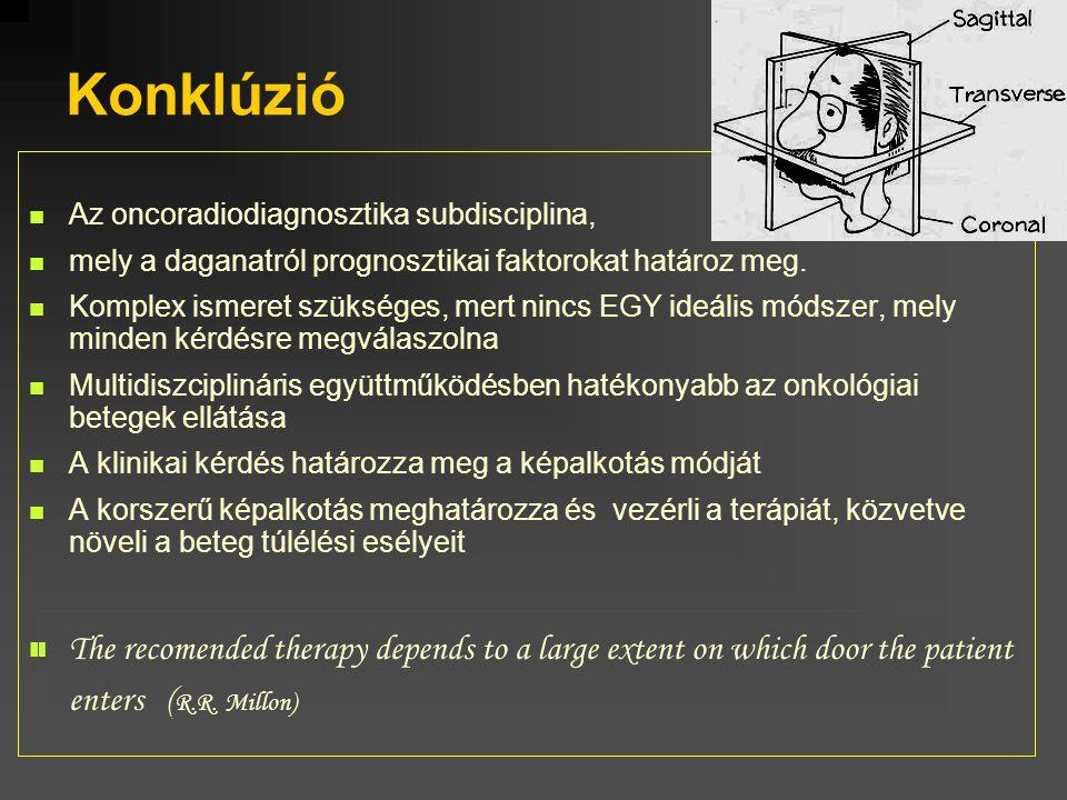 Konklúzió Az oncoradiodiagnosztika subdisciplina, mely a daganatról prognosztikai faktorokat határoz meg. Komplex ismeret szükséges, mert nincs EGY id