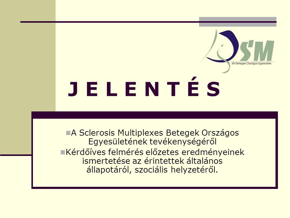 J E L E N T É S A Sclerosis Multiplexes Betegek Országos Egyesületének tevékenységéről Kérdőíves felmérés előzetes eredményeinek ismertetése az érintettek általános állapotáról, szociális helyzetéről.