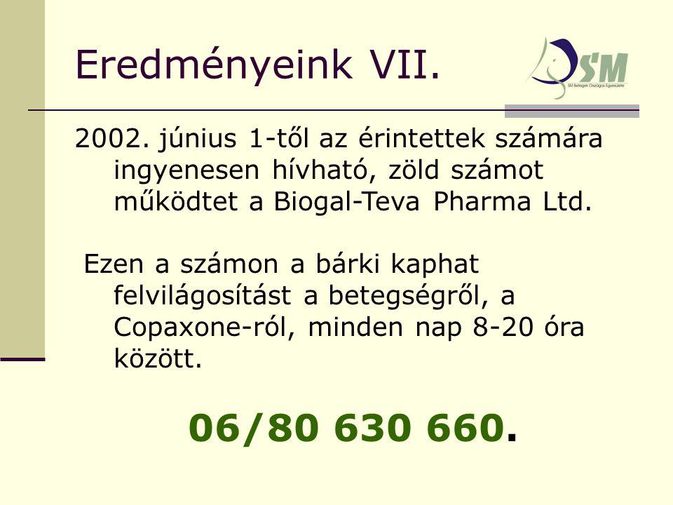 Eredményeink VII. 2002.